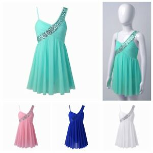 Girls Jazz Dance Dress Ballet Gym Shoulder Straps Sequins Tulle Skirts Dancewear
