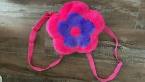 Fuzzy Pink and Purple Flower Mini Backpack Rave y2k 90s