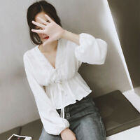Ladies casual V-Neck chiffon blouse long sleeve women shirt style korean Fashion