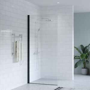 MELBOURNE Black Walk in Shower Screen Fixed Panel 10mm Toughened Glass 800-1200
