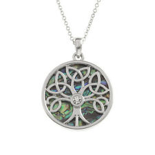 "Trinity Tree of Life Charm Pendant Necklace - Abalone Paua Shell - 18"" Chain"