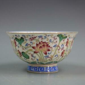 Chinese Jingdezhen Porcelain Famille Rose Lotus Flower Bowl