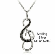0.50ct TDW Black or Blue & White Diamond Open Heart Necklace Music Note Jewelry