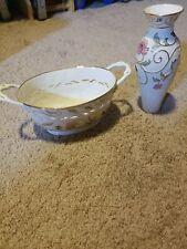 """Lenox porcelain vase """"Gilded Garden"""", 8.5 inches 10"""" Basket Lot of 2 never used"""