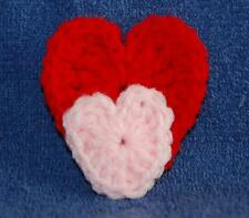 Red and Pink Crocheted Hearts, Refrigerator Magnet, Made in the USA