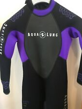 Aqualing Ladies 3mm Wetsuit Size Small Black And Purple