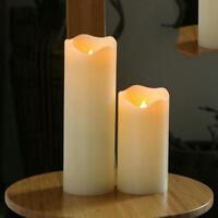 3Pcs Battery powere Flameless Led Pillar Candle Paraffin Wax wavy Edge Night