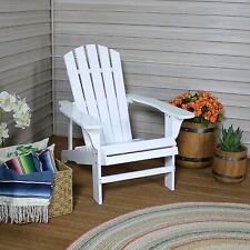 Sunnydaze Coastal Bliss Wooden Adirondack Chair - White