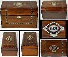 ANTIQUE BOX TEA CADDY ROSEWOOD INLAID SILVER ABALONE EBONY ENGLISH 1860 ORIGINAL