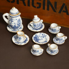 Dolls House Miniature Deluxe China Ceramic Porcelain Coffee Tea Set 1/12 Scale