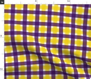 Plaid Purple And Gold Spoonflower Fabric by the Yard