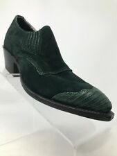 Nocona Booties Green Suede Leather Pull On Block Heel Women 4.5 B