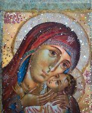 Holy Virgin Mary 5x 3,5, Saint,Icon,Original,one of the kind, Antanenka