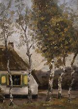 Landschaft mit Haus Und Birken. Signiert.