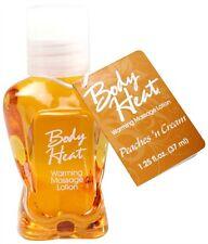 Body Heat FLAVORED Lotion WARMING Massage Lube Sex EDIBLE Oil 1.25oz Peach Cream
