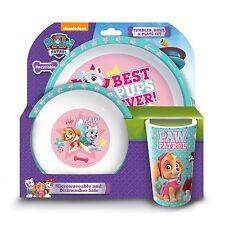 Paw Patrol Girls Pink Everest 3pc Melamine Tumbler, Bowl & Plate Mealtime Set