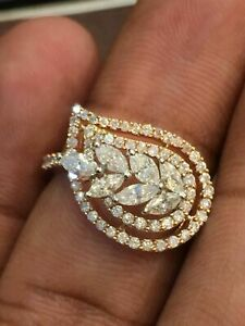 Pave 1.07 Cts Round Marquise Cut Diamonds Wedding Ring In Stamped 585 14K Gold