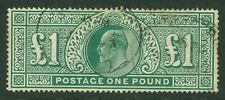 SG 320 £1 deep green. Fine used oval cancels. Good colour & centring CAT £750