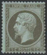 "FRANCE STAMP TIMBRE N° 19 "" NAPOLEON  III 1c OLIVE 1862 "" NEUF xx TB SIGNE"