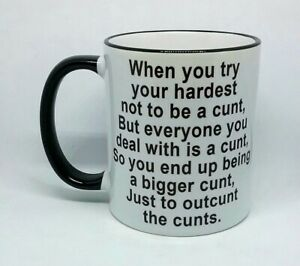 OUTCUNT THECUNTS NAUGHTY COFFEE MUG RUDE FUNNY NOVELTY BIRTHDAY CHRISTMAS CUP