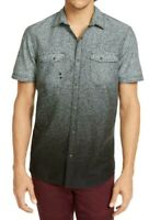 INC Mens Shirts Black Size Medium M Button Front Ombre Dual-Pocket $49 100