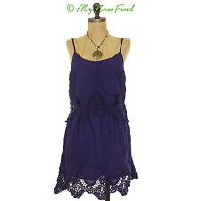 NWOT MIMI CHICA NORDSTROM JUNIOR CROCHET RUFFLE DRESS NAVY BLUE S SMALL B43