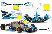 Go Kart Graphics Kit Decal Sticker Wrap For KG Freeline Birel Adult CARBONX BLUE