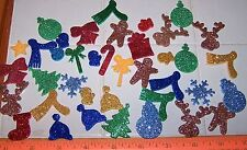 LOT Of 25 GLITTER Foam Shapes CHRISTMAS Self Adhesive