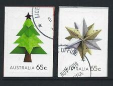 AUSTRALIA 2019 CHRISTMAS EMBELLISHED PAIR OF STAMPS FINE USED