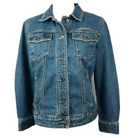CHRISTOPHER & BANKS Women's Blue Jean Jacket Size Small Distressed Button Front