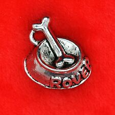 4 x Tibetan Silver Rover Dog Bowl Charm Pendant Finding Bead Making