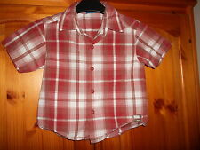 Red, brown and white check short sleeve shirt, CHEROKEE, 12-18 months, excellent