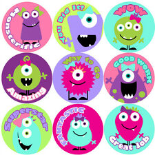 144 Girly Monsters Praise Words Reward Stickers 30mm, Teachers, Girls Party Bags