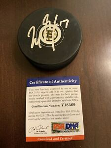 Milan Lucic Signed Logo Puck Boston Bruins PSA DNA Autographed Auto