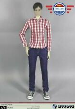 ZY TOYS 1/6 Red Plaid Shirt Blue Denim Jeans set for 12'' Female Figure Doll