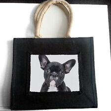 FRENCH BULLDOG PUPPY DOG JUTE SHOPPING BAG PET LOVER BREED ANIMAL PHOTO GIFT