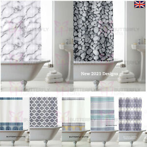 MODERN DESIGNER PEVA BATHROOM SHOWER CURTAINS COMPLETE 12 Hooks 180cm x 180cm