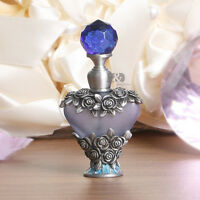 Vintage Blue Rose Cut Crystal Metal Perfume Bottle Handmade Xmas Empty Gifts 8ml
