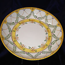 """NAZARI PORTUGAL LARGE ROUND SERVING BOWL 14 5/8"""" YELLOW & RED FLOWERS"""