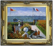 Framed, Claude Monet Garden at Sainte-Adresse, Hand Painted Oil Painting 20x24in