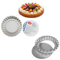 6 Tart Tin Pie Flan Loose Base Fluted Non Stick Baking Mould Flaunted 10CM Tray