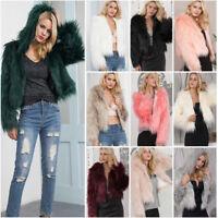 Women Ladies Warm Faux Fur Coat Jacket Winter Hooded Parka Outerwear Overcoat US