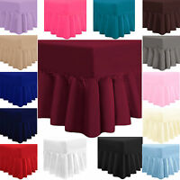 PLAIN DYED FITTED VALANCE BOX BED SHEET  POLY COTTON PERCALE FRILL BEDDING
