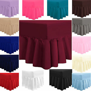 PLAIN DYED FITTED VALANCE BOX BED SHEET LUXURY POLY COTTON PERCALE FRILL BEDDING