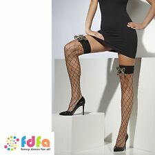 Black diamond net hold ups bas avec camo bows femme hosiery