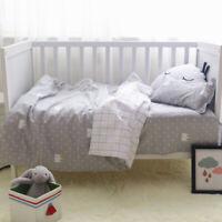 3Pcs Unicorn Nursery Baby Crib Bedding Set Girl Boy Cot Sheet Quilt Pillow Cover