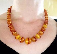 RaReAUTHENTIC OLD ART DECO NATURAL EGG YOLK BUTTER SCOTCH CARAMEL amber necklace
