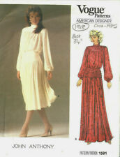 "1985 Vintage VOGUE Sewing Pattern B34"" DRESS (1918) By John Anthony"