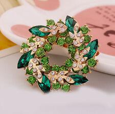 Vintage Gold Alloy Rhinestone Crystal Flower Wedding Bridal Bouquet Brooch Pin
