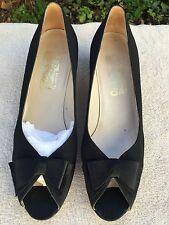 Salvatore Ferragamo Black Open Toe Medium Heel Pumps with Bow Size 9